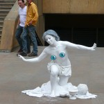 Topless living statue is wildly successful because no doy