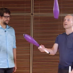 Leif Pettersen juggles with Tom Weber at MPR